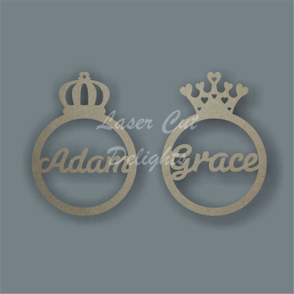 Bauble - Crown with Name 3mm 12cm