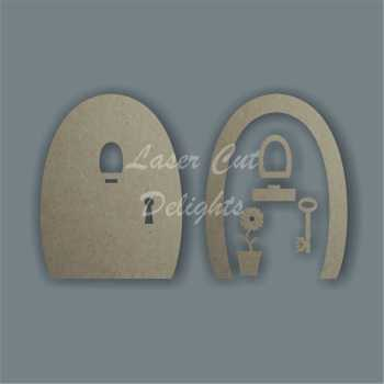 3D Fairy Door LEDGE & KEY 3mm 15cm