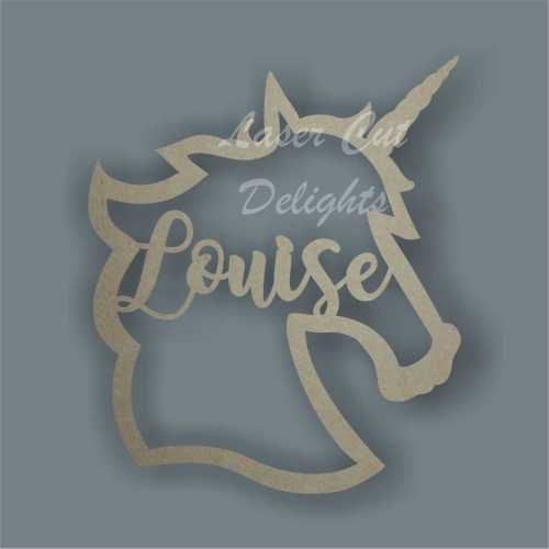 Personalised Name in a Unicorn Head Plaque Sign Wood