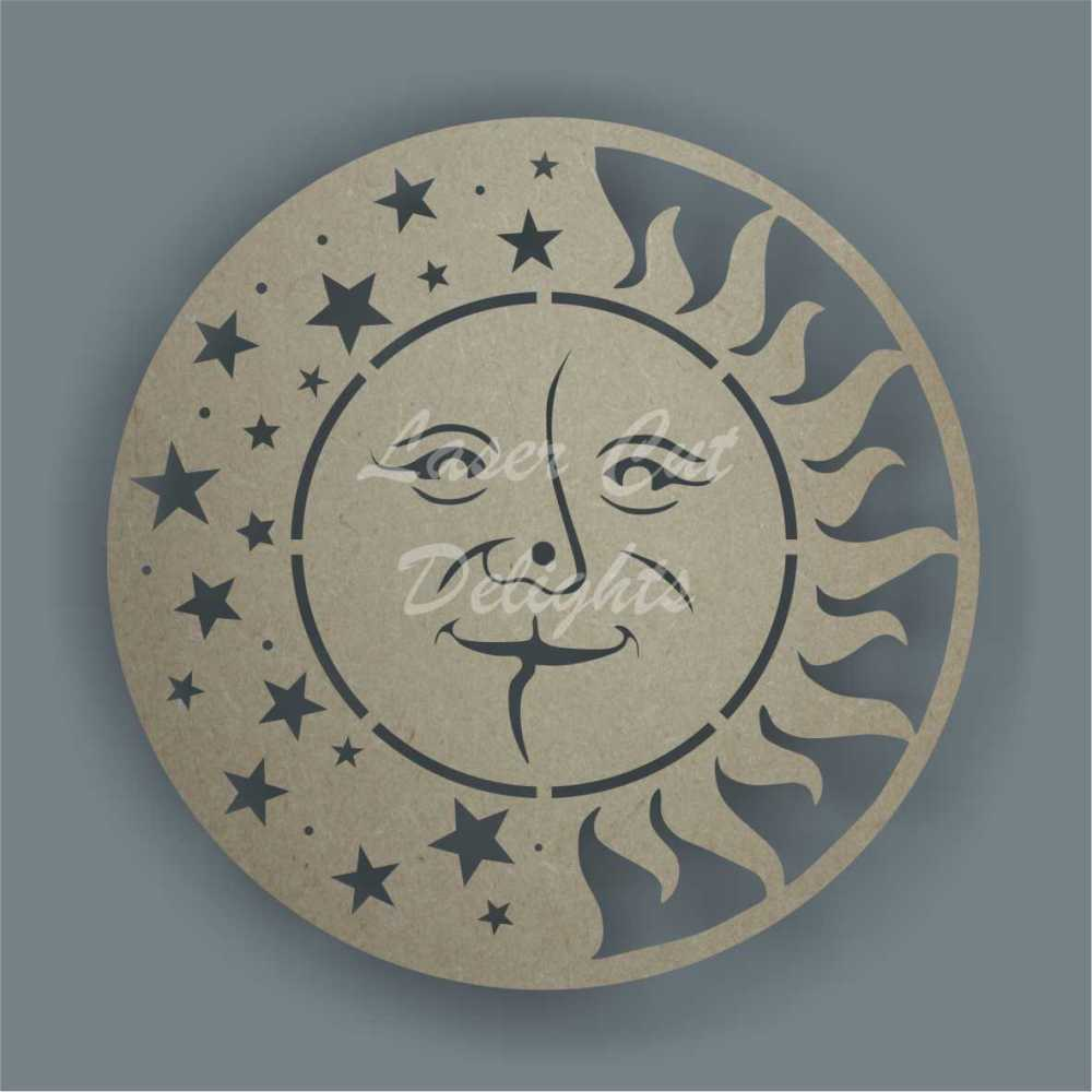 sun moon stars clock laser cut shapes