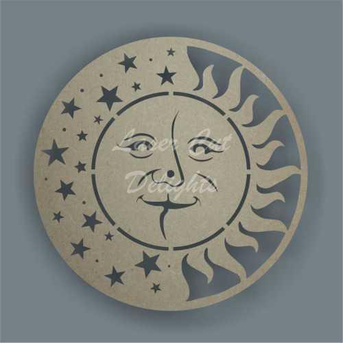 sun moon stars clock laser cut shapes