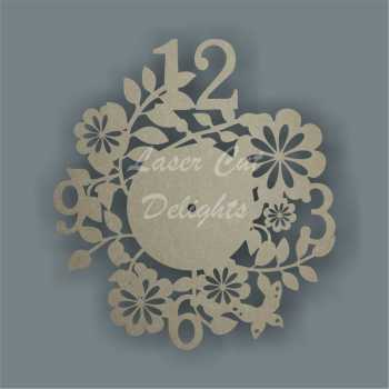 CLOCK - Flower Theme / Laser Cut Delights