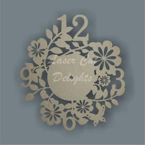 flower clock mdf wood cut