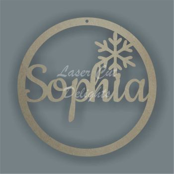 Bauble Circle Script Font and Snowflake Personalised / Laser Cut Delights