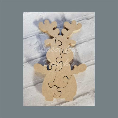 Reindeer jigsaw puzzle christmas craft blank mdf wood shape