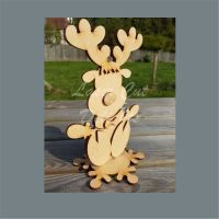 Character Reindeer on Snowflake Plinth / Laser Cut Delights