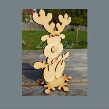 Character Reindeer on Snowflake Plinth / Laser Cut Delights