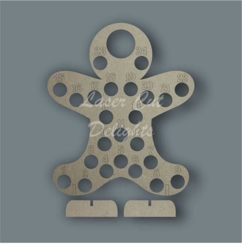 Advent Countdown Chocolate Holder Gingerbread Man / Laser Cut Delights