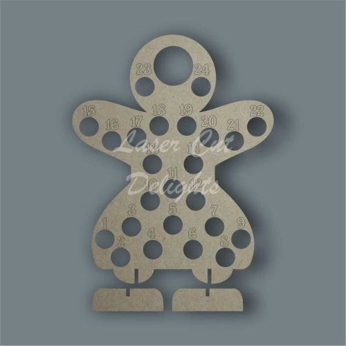 Advent Countdown Chocolate Holder Gingerbread Woman / Laser Cut Delights