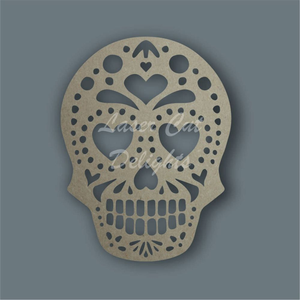Sugar Skull HEARTS Stencil / Laser Cut Delights