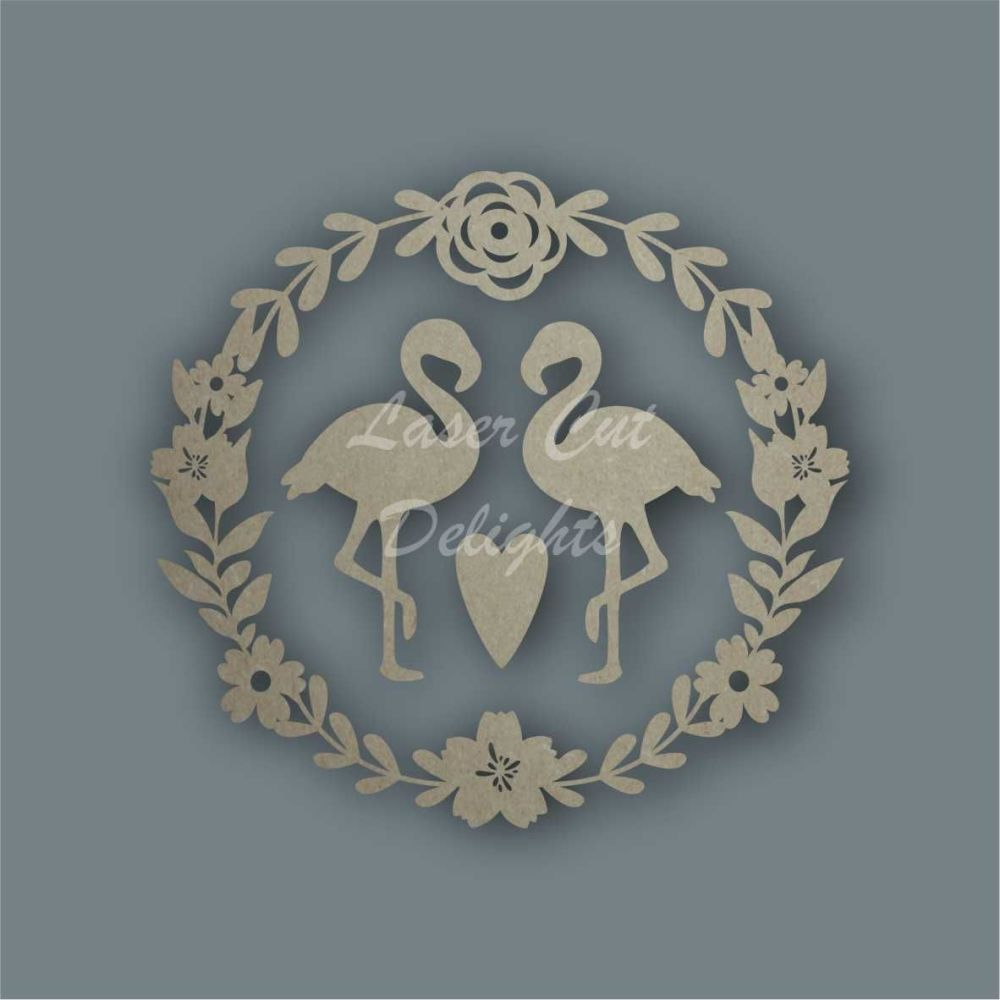 Wreath Flower Flamingos / Laser Cut Delights