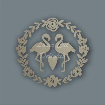 Wreath Flower Flamingos / Laser Cut Delights