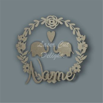 Wreath Flower Elephant NAME / Laser Cut Delights