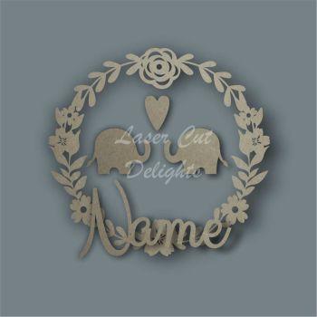 Flower Wreath Elephant NAME / Laser Cut Delights
