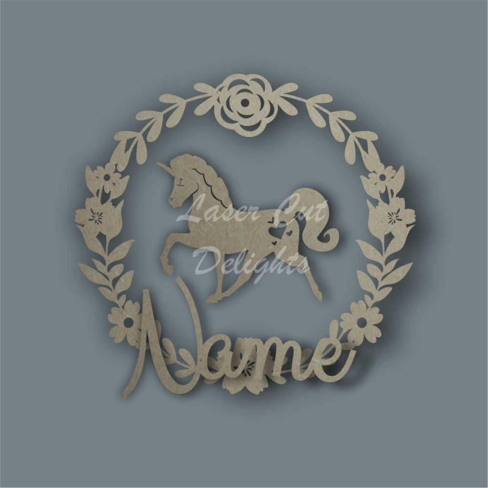 Wreath Flower Unicorn NAME / Laser Cut Delights