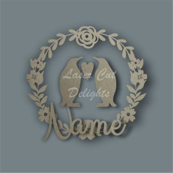 Flower Wreath Penguin NAME / Laser Cut Delights