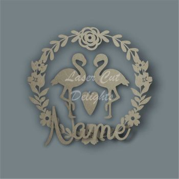 Flower Wreath Flamingo NAME / Laser Cut Delights