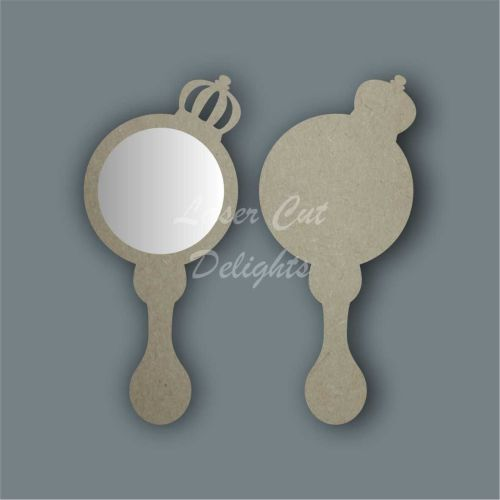 Handheld Mirror Side Prince Crown / Laser Cut Delights