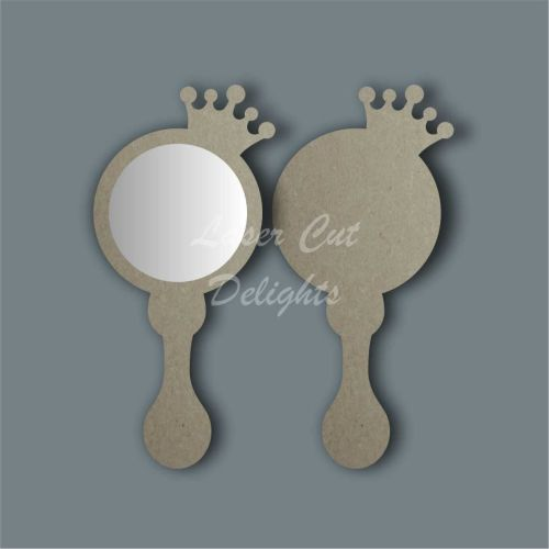 Handheld Mirror Side Princess Crown / Laser Cut Delights