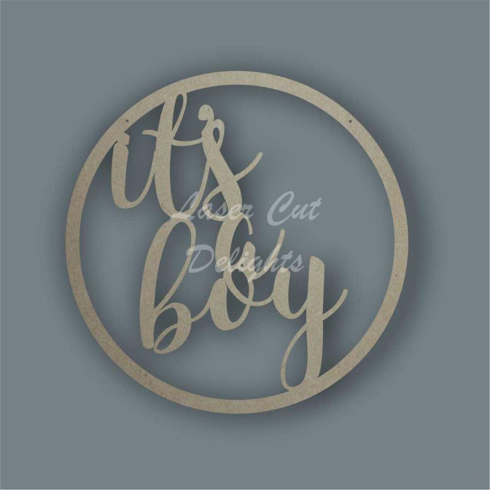 Large Hoop 'it's a boy' / Laser Cut Delights