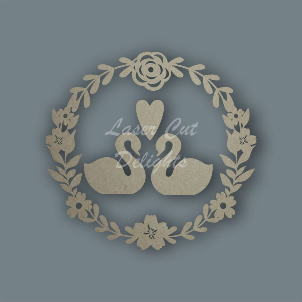 Wreath Flower Swans / Laser Cut Delights