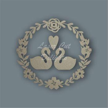 Wreath Flower Swans / Laser Cut Delights