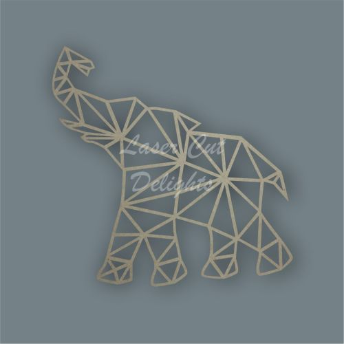 Geometric Elephant Wood MDF Plain Wall Decor