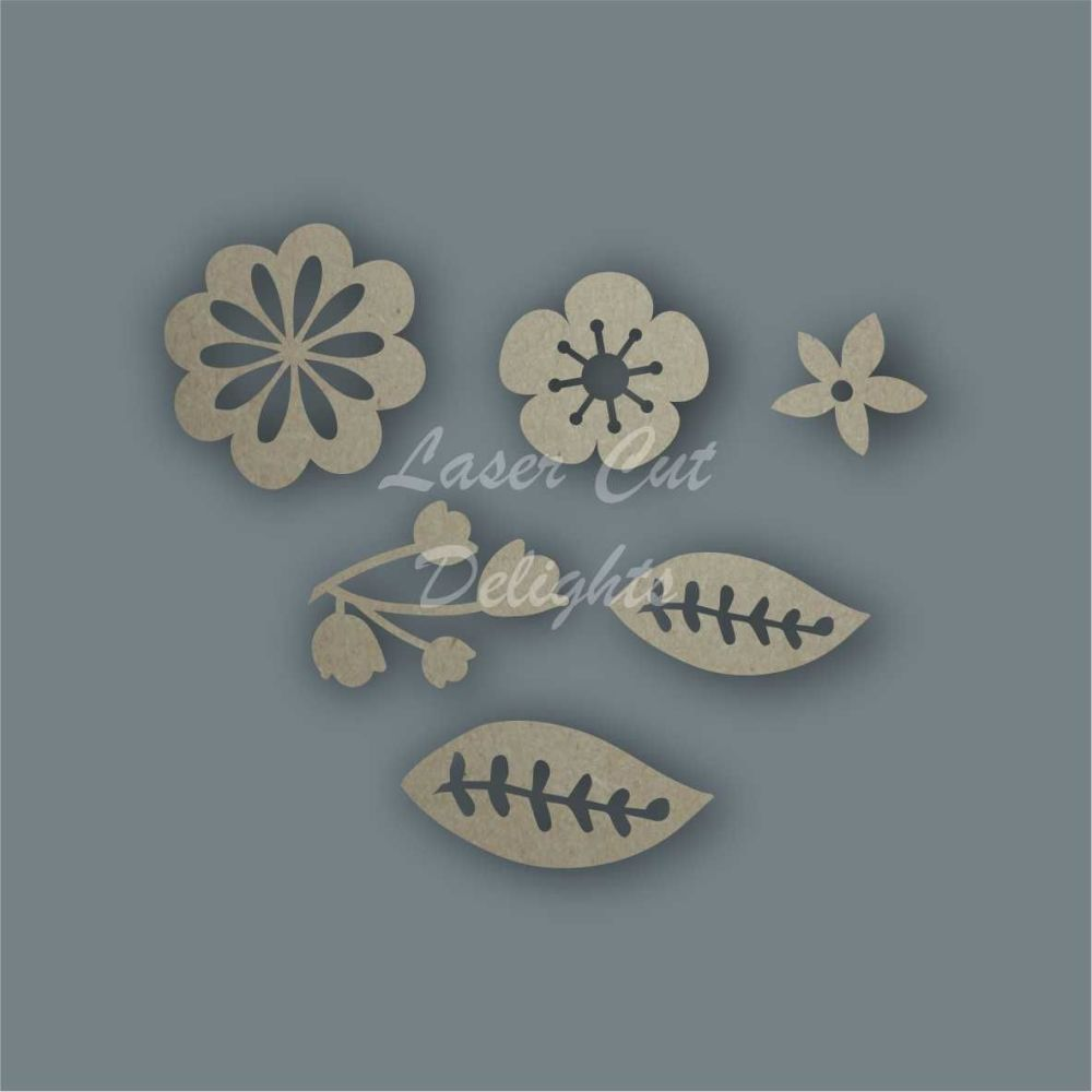 Flowers Pack Design 3 / Laser Cut Delights