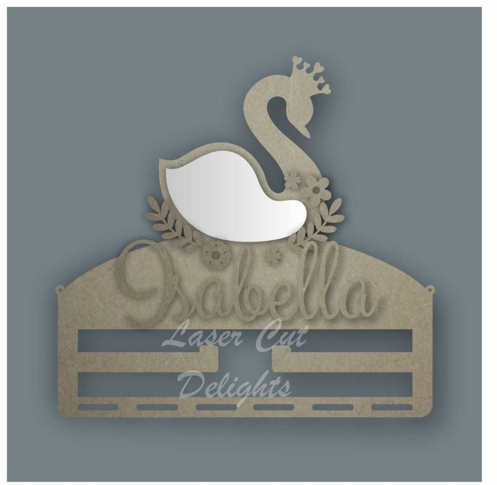 Combination Clip Bow Medal Hanger MIRROR with SWAN / Laser Cut Delights