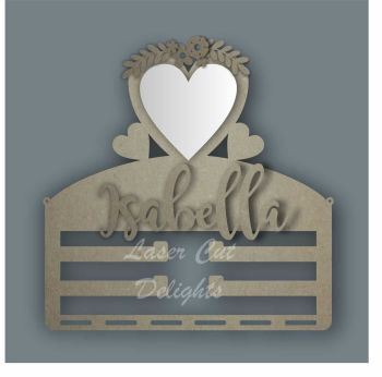 Combination Clip Bow Medal Hanger MIRROR with HEART / Laser Cut Delights