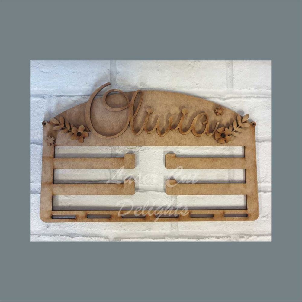 Combination Clip Bow Medal Hanger NAME (No Mirror) / Laser Cut Delights