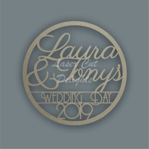Large Hoop with Names & Date / Laser Cut Delights