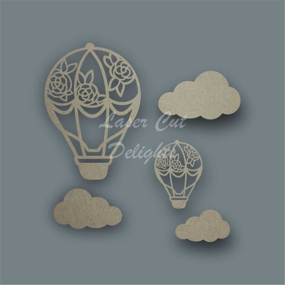 Hot Air Balloon Floral Shape Pack / Laser Cut Delights