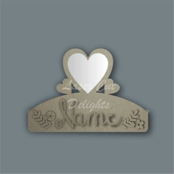 Name Mirror Plaque Bow Holder HEART / Laser Cut Delights