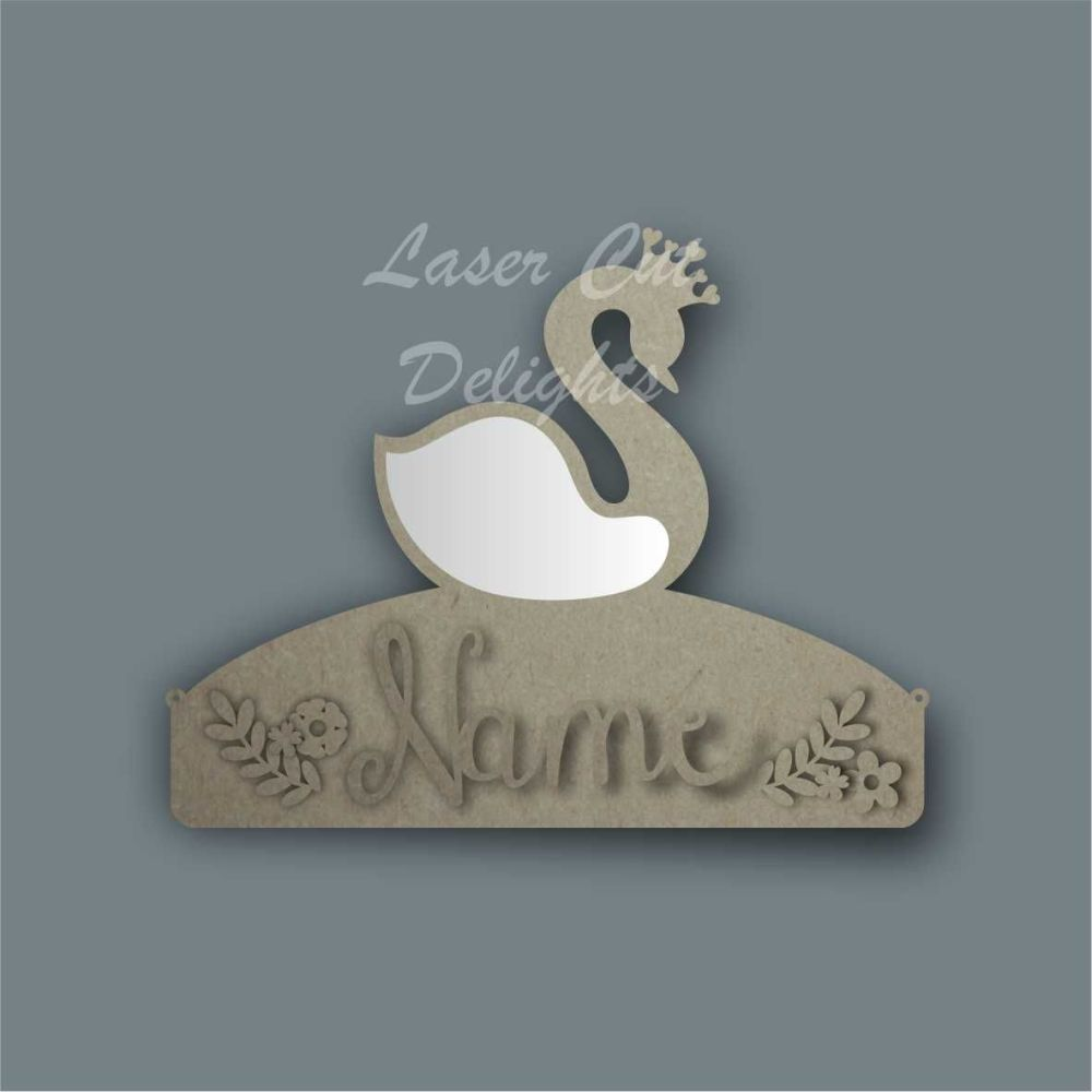 Name Mirror Plaque Bow Holder SWAN / Laser Cut Delights