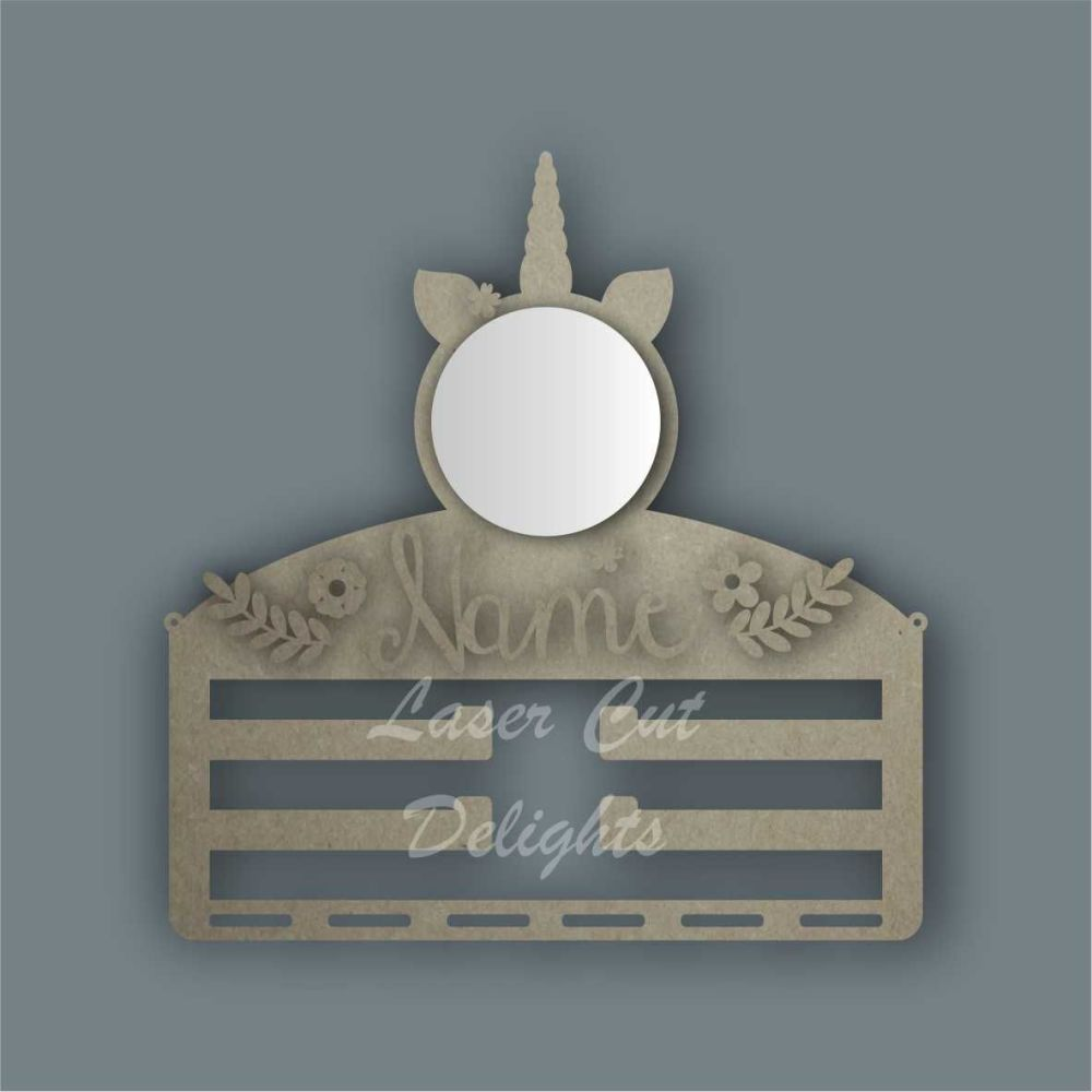 Combination Clip Bow Medal Hanger MIRROR with UNICORN CIRCLE / Laser Cut Delights