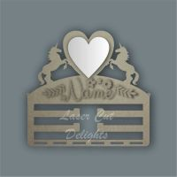 Combination Clip Bow Medal Hanger MIRROR with UNICORN SIDES/ Laser Cut Delights