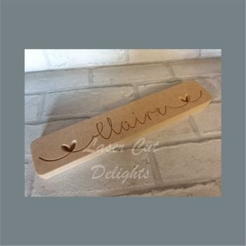 Engraved Plaque with Name & Hearts / Laser Cut Delights