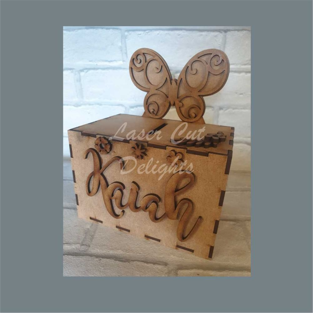 Money Box - Butterfly Themed / Laser Cut Delights