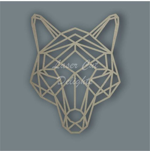 Geometric Fox Face Head Wood MDF Room Theme Wall Piece Art
