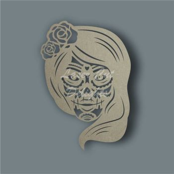 Sugar Skull Lady Stencil / Laser Cut Delights