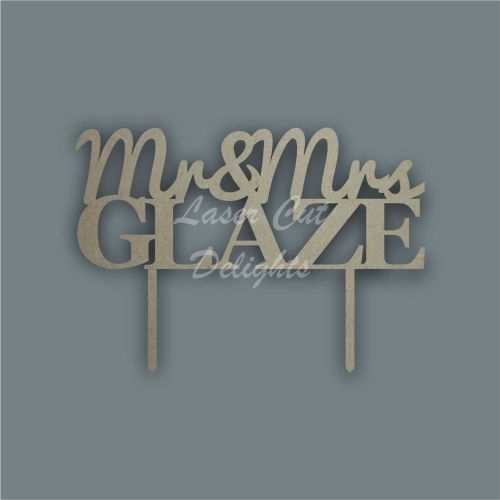Wedding Couple and Surname Cake Topper / Laser Cut Delights