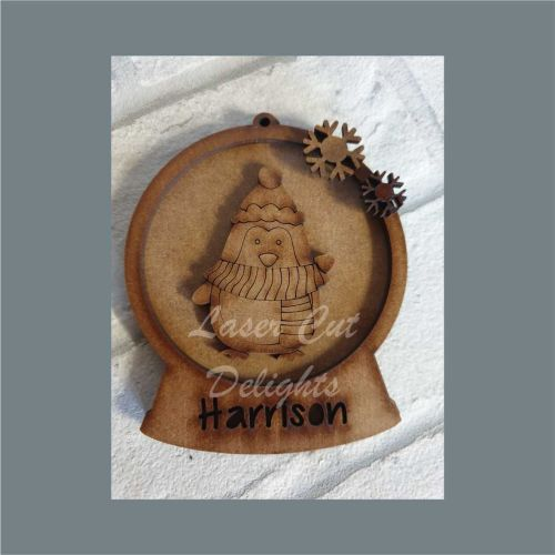 Layered Bauble - Waving Penguin / Laser Cut Delights