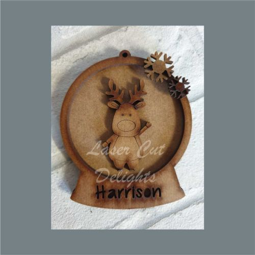 Layered Bauble - Waving Reindeer / Laser Cut Delights