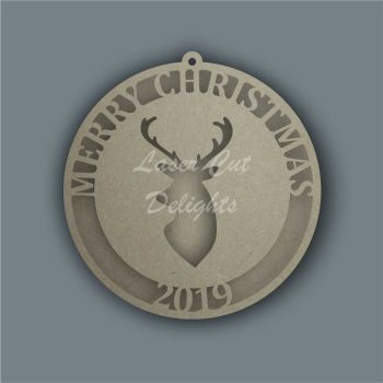 Bauble Cut Through Reindeer Stag / Laser Cut Delights