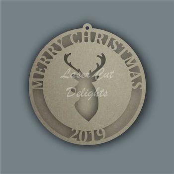 Bauble Cut Through Reindeer Stag / Laser Cut Delights