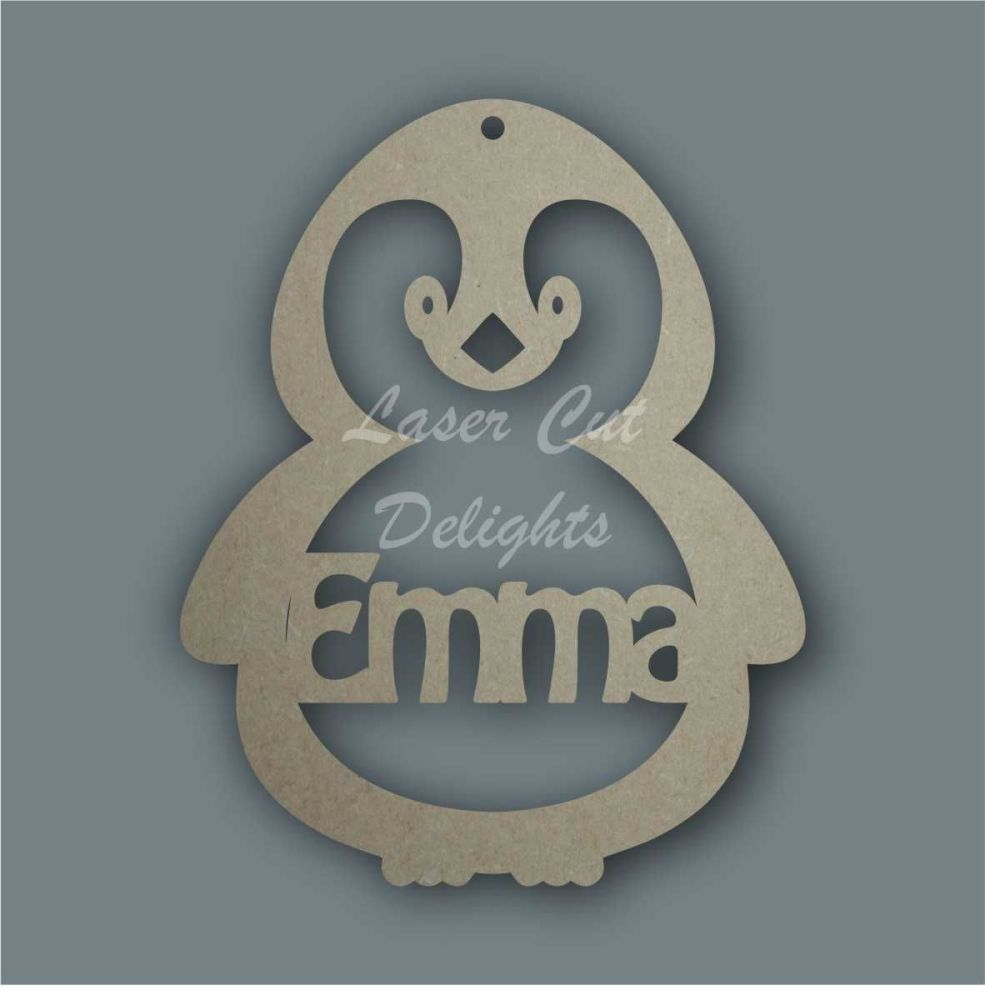 Bauble PENGUIN STENCIL Personalised / Laser Cut Delights