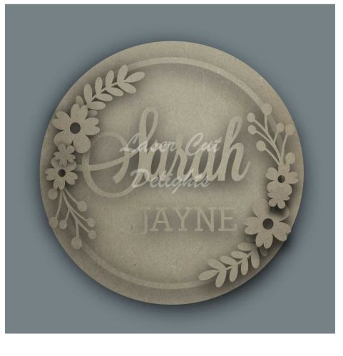 Wreath with SURNAME / Laser Cut Delights