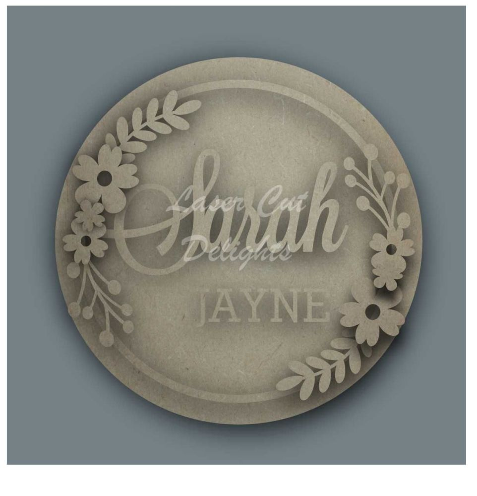 Wreath FIRST & SURNAME / Laser Cut Delights