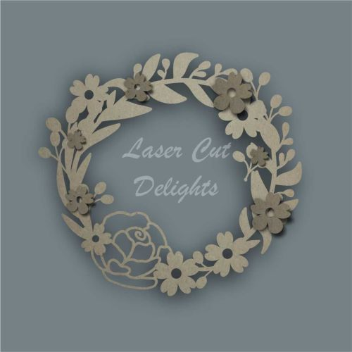 Wreath Floral Large Rose / Laser Cut Delights